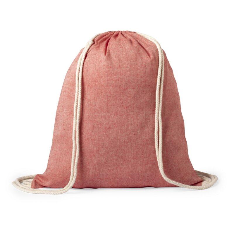 Worek ze sznurkiem z bawełny z recyklingu czerwony